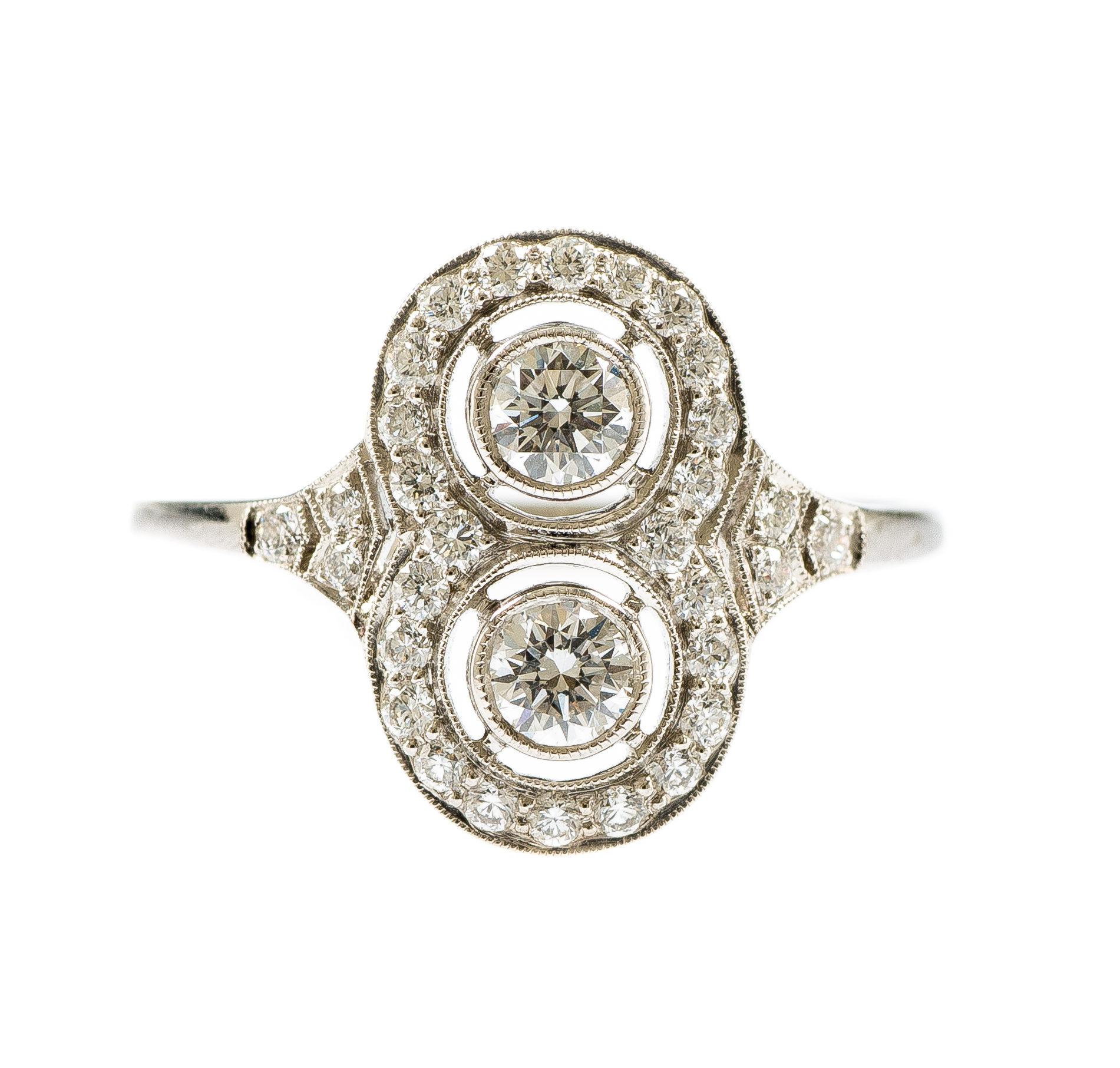 Platinum Diamond Art Deco Style Ring Fosters Jewellers